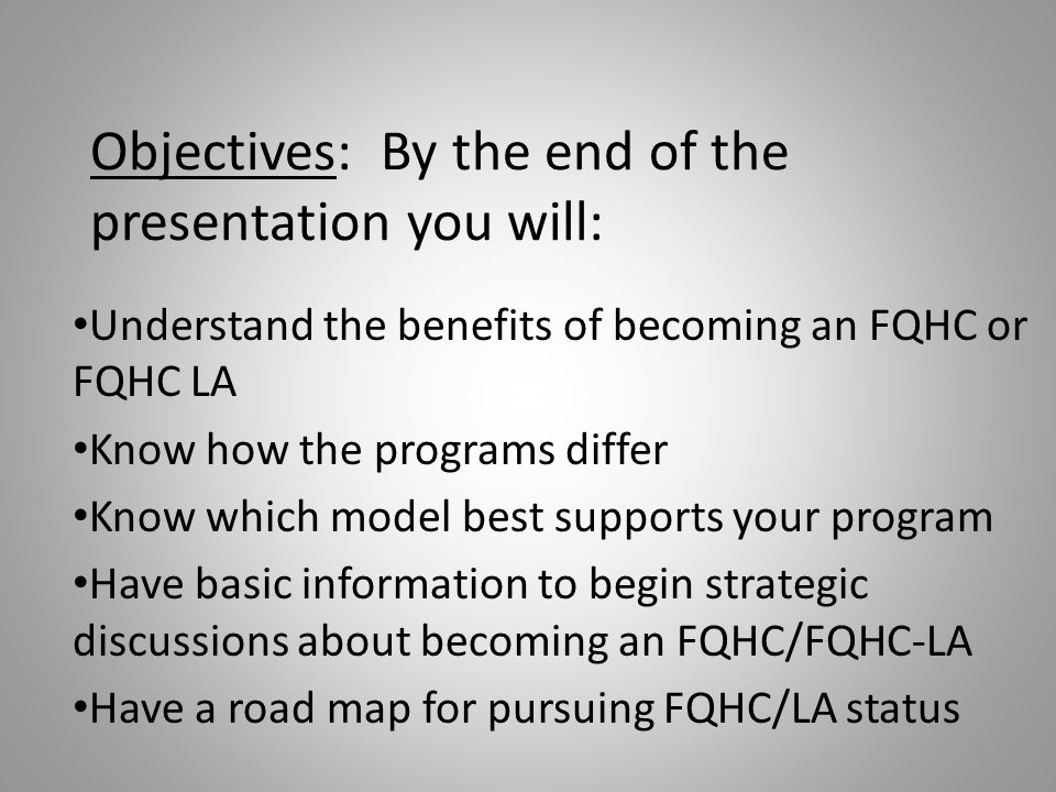 Objectives: By the end of the presentation you will: