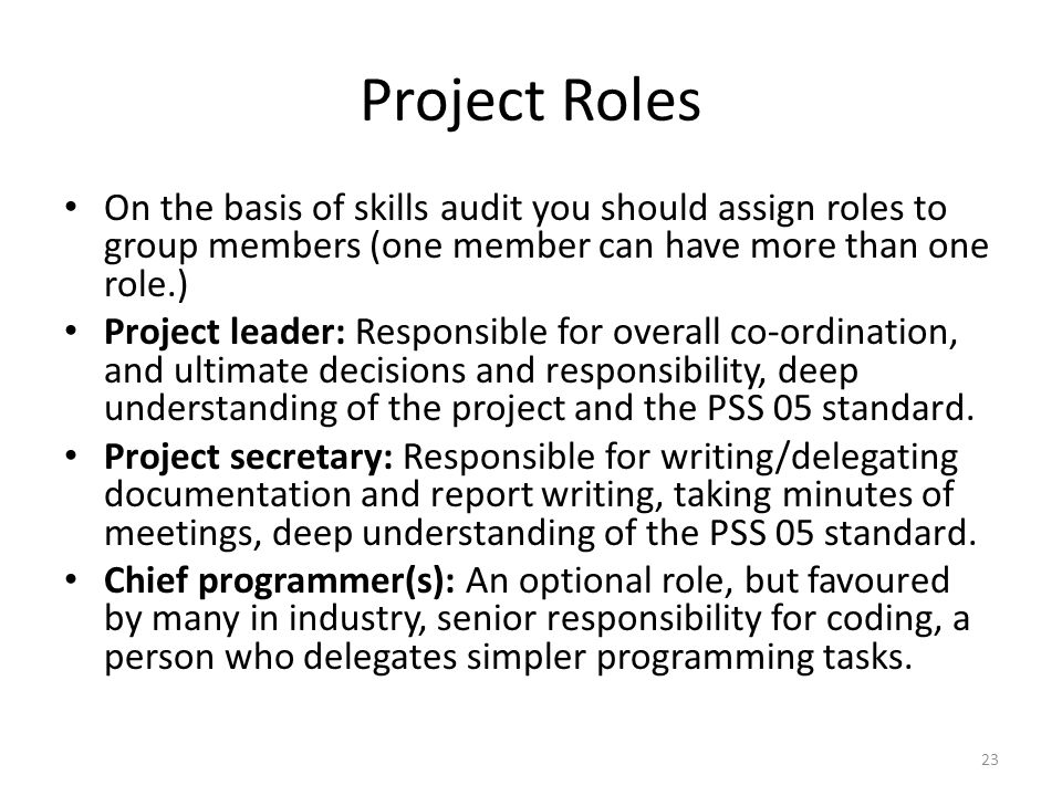 Project Roles On the basis of skills audit you should assign roles to group members (one member can have more than one role.)