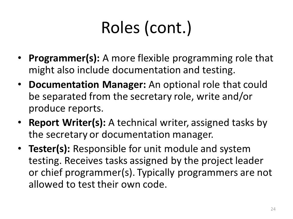 Roles (cont.) Programmer(s): A more flexible programming role that might also include documentation and testing.