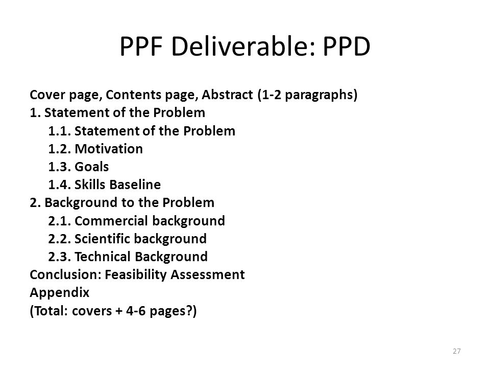 PPF Deliverable: PPD
