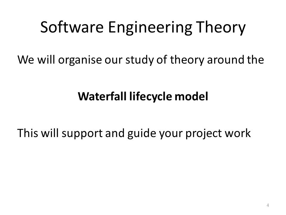 Software Engineering Theory