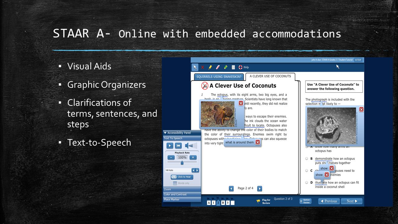 STAAR A- Online with embedded accommodations