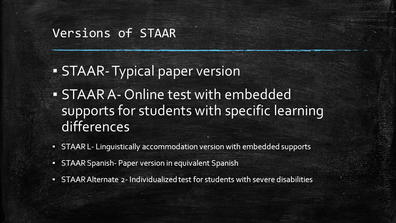 STAAR- Typical paper version
