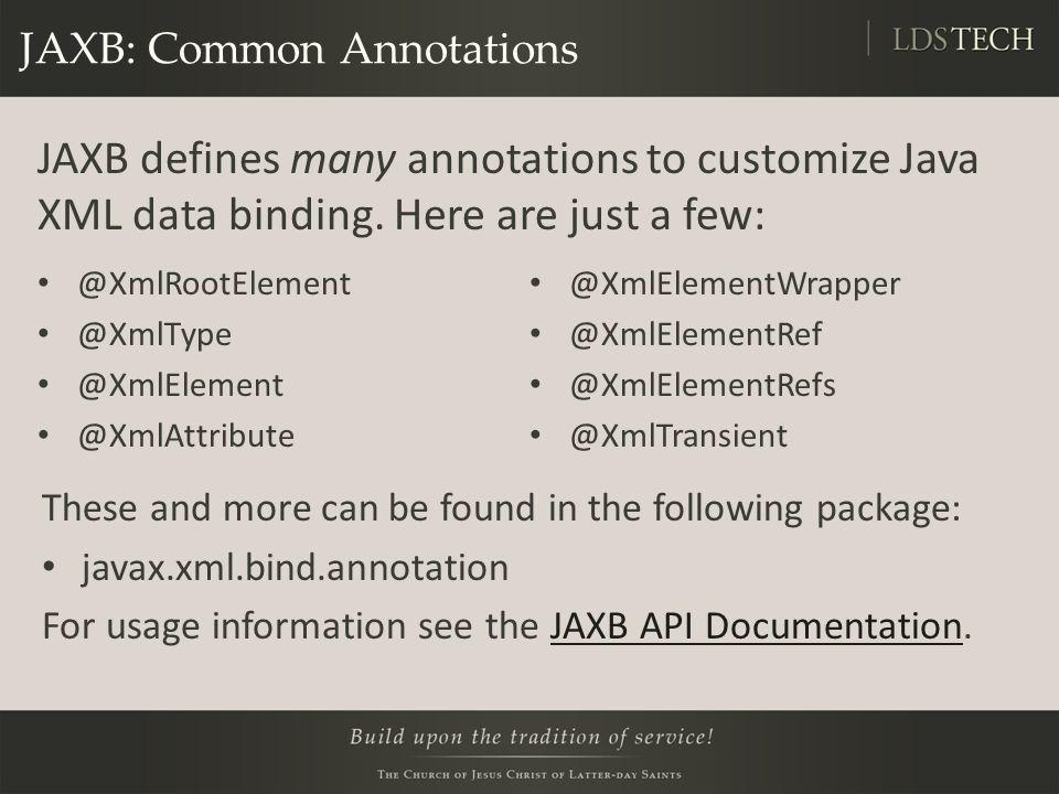 JAXB: Common Annotations