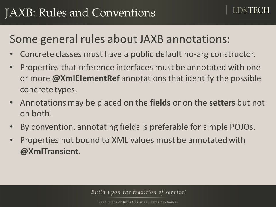 JAXB: Rules and Conventions
