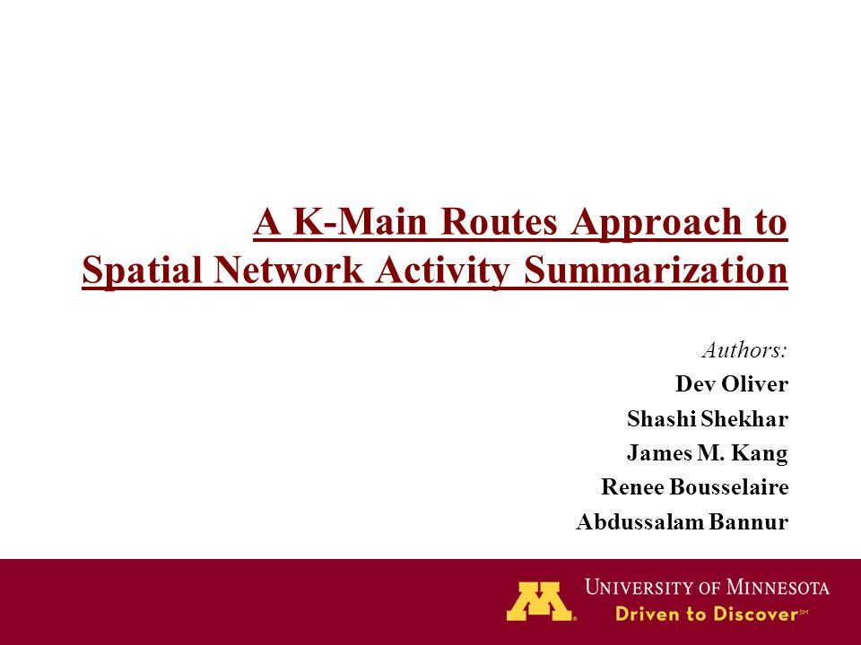 A K-Main Routes Approach to Spatial Network Activity Summarization