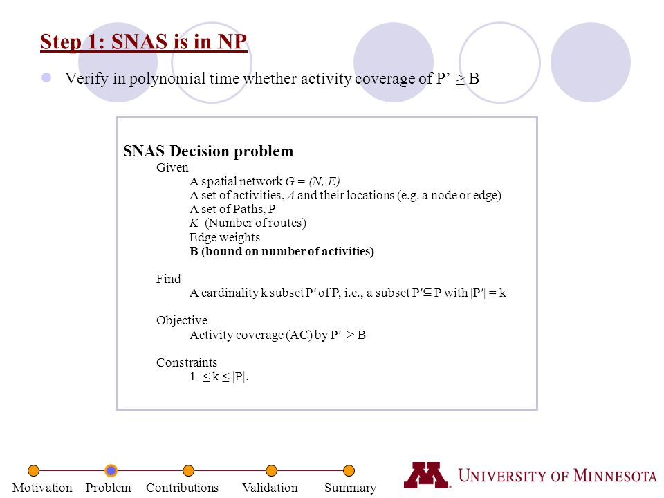 Step 1: SNAS is in NP Verify in polynomial time whether activity coverage of P' ≥ B. SNAS Decision problem.