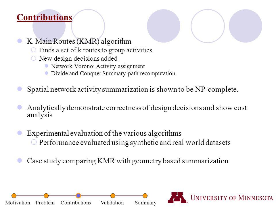 Contributions K-Main Routes (KMR) algorithm