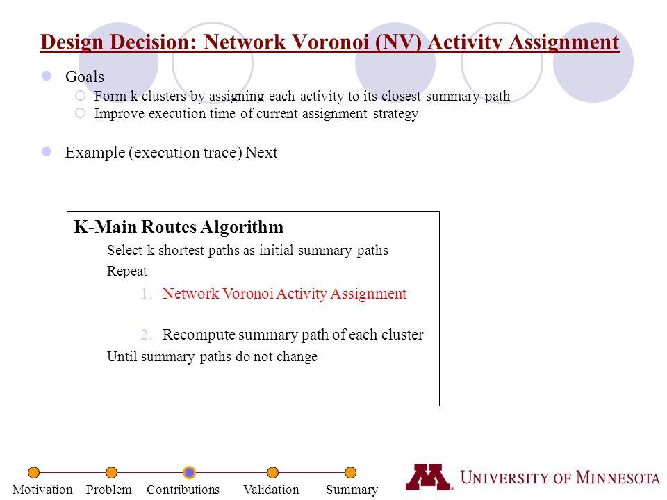 Design Decision: Network Voronoi (NV) Activity Assignment