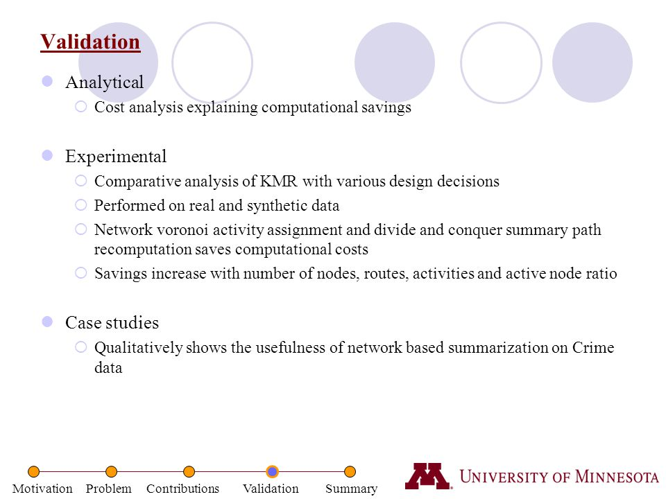 Validation Analytical Experimental Case studies