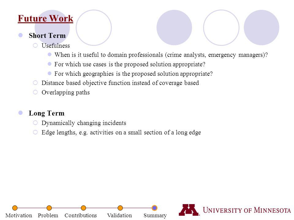 Future Work Short Term Long Term Usefulness