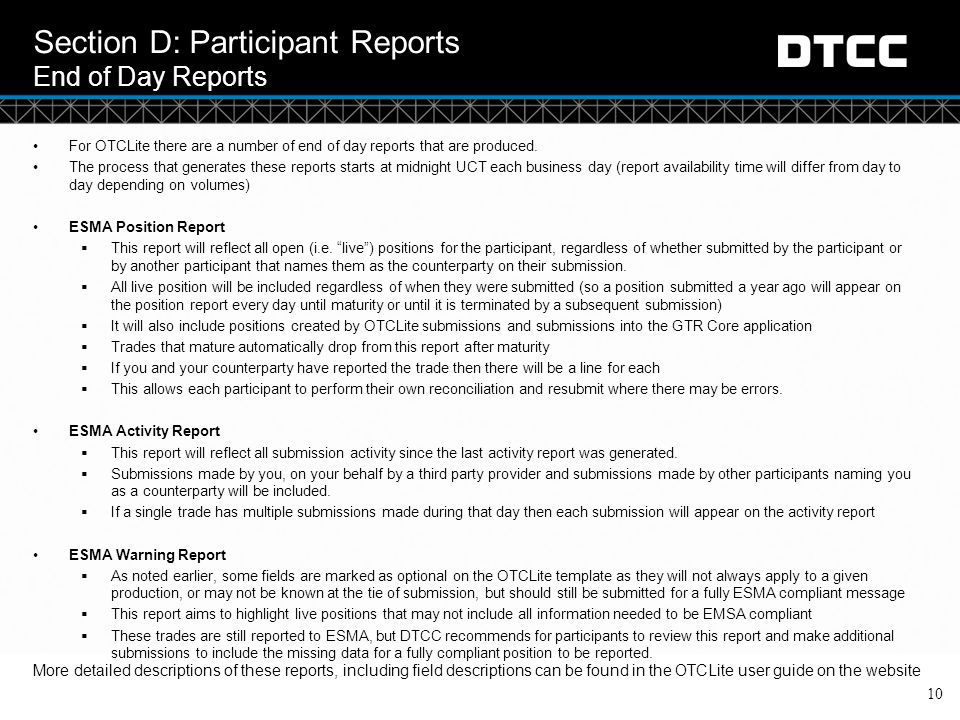 Section D: Participant Reports End of Day Reports