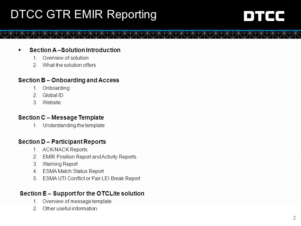 DTCC GTR EMIR Reporting