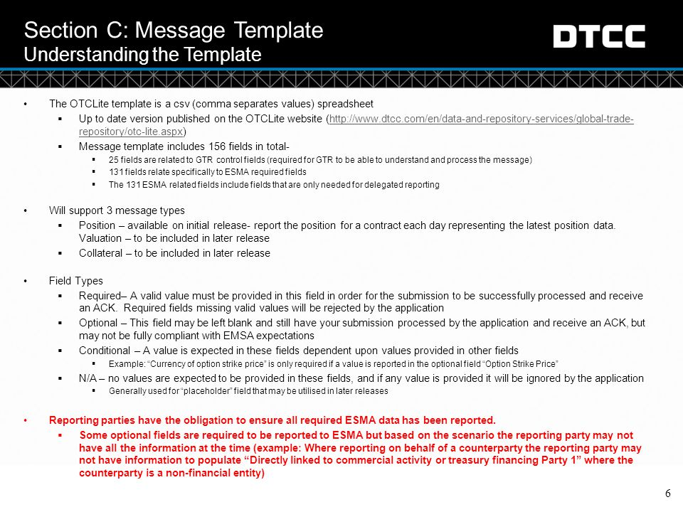 Section C: Message Template Understanding the Template