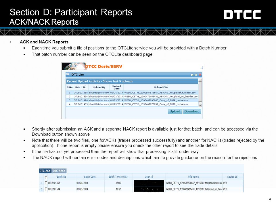 Section D: Participant Reports ACK/NACK Reports