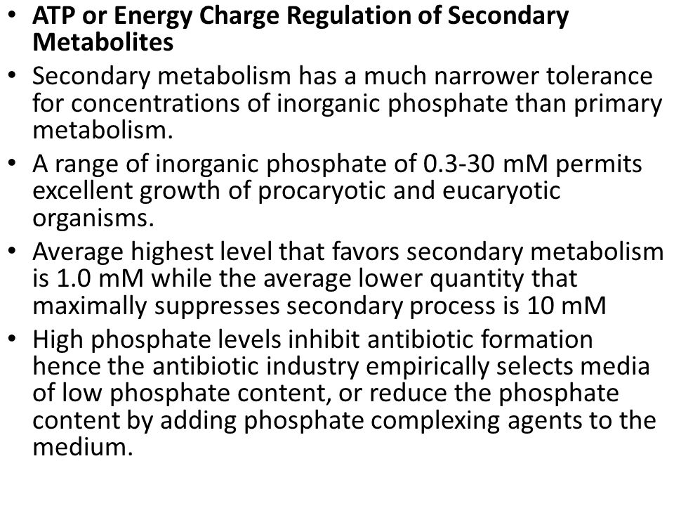 ATP or Energy Charge Regulation of Secondary Metabolites