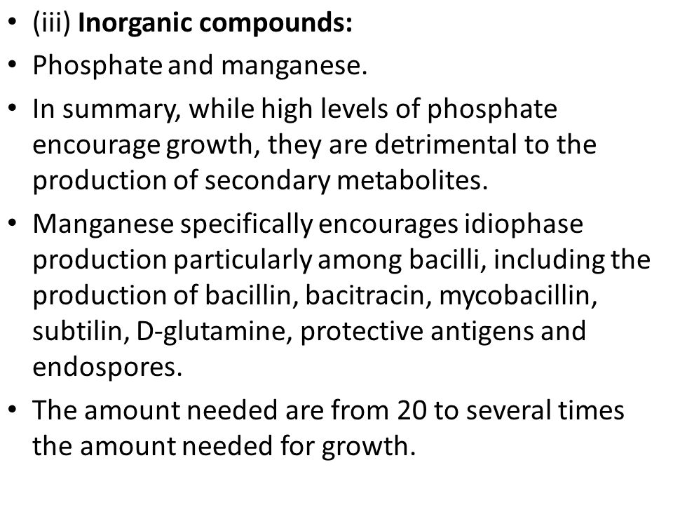 (iii) Inorganic compounds: