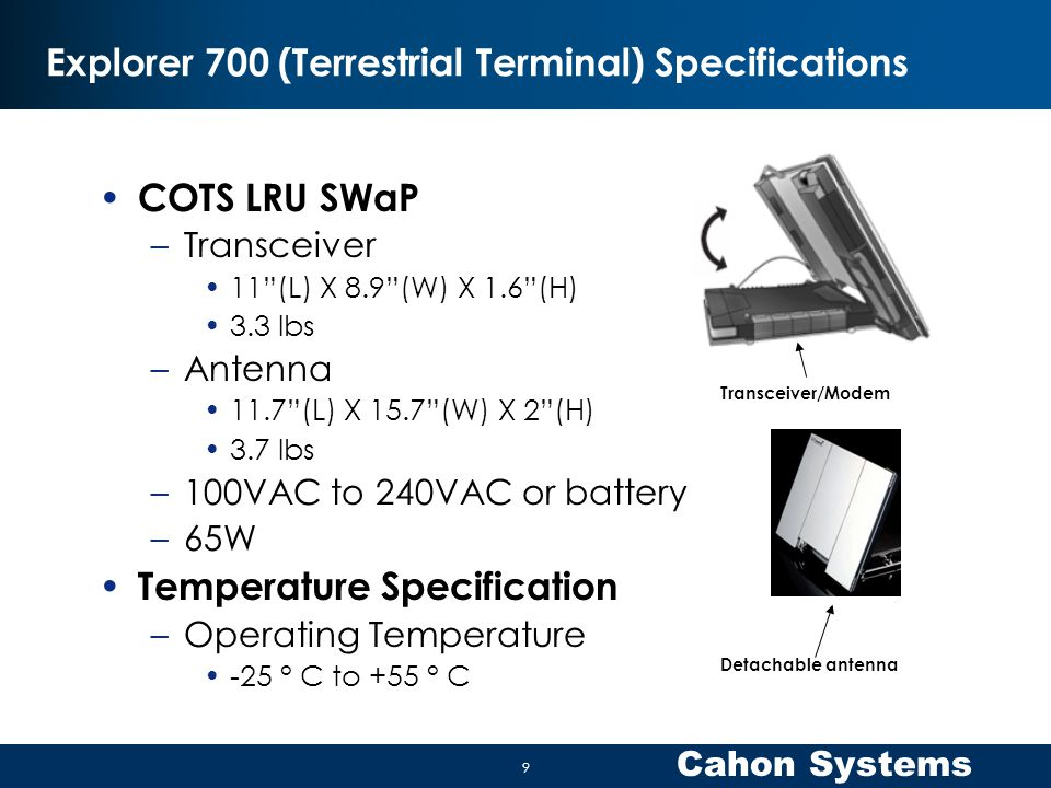 Explorer 700 (Terrestrial Terminal) Specifications