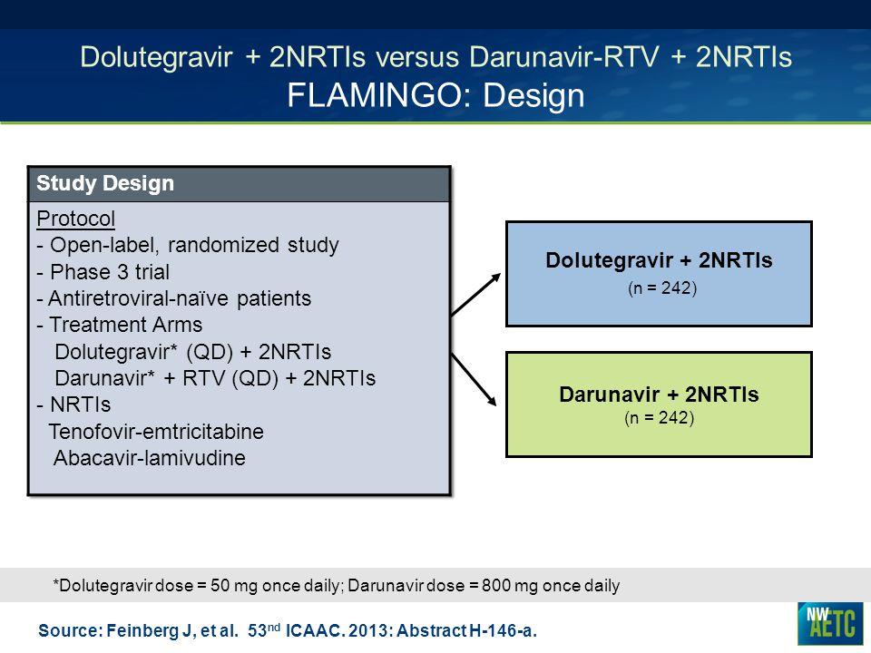 Dolutegravir + 2NRTIs versus Darunavir-RTV + 2NRTIs FLAMINGO: Design