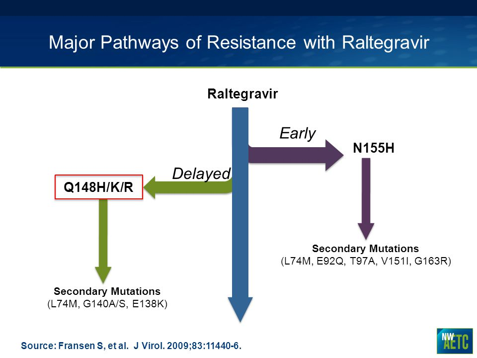 Major Pathways of Resistance with Raltegravir