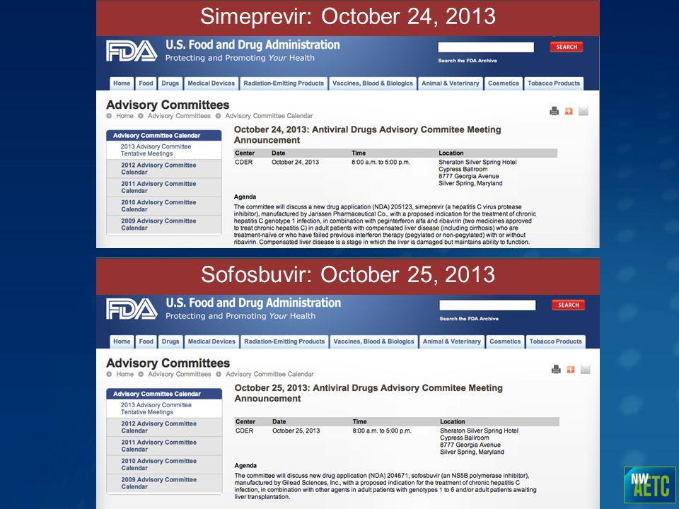 Simeprevir: October 24, 2013 Sofosbuvir: October 25, 2013