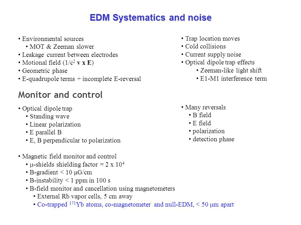 EDM Systematics and noise