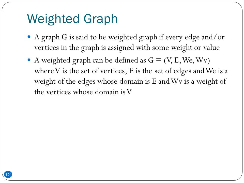 Weighted Graph A graph G is said to be weighted graph if every edge and/or vertices in the graph is assigned with some weight or value.