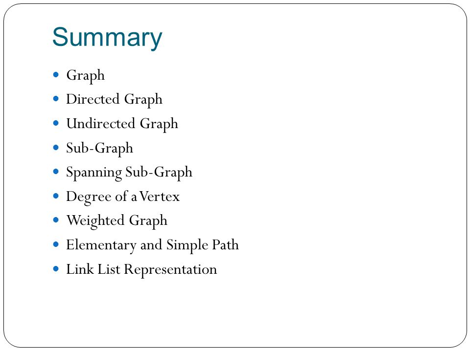 Summary Graph Directed Graph Undirected Graph Sub-Graph
