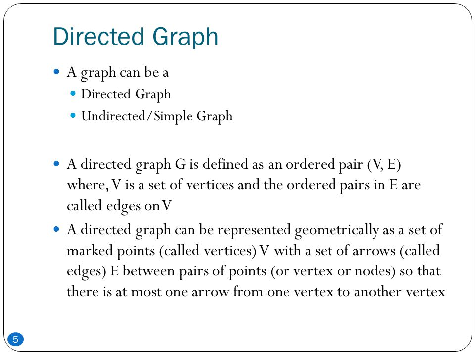 Directed Graph A graph can be a