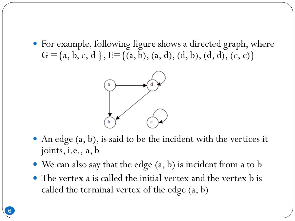 For example, following figure shows a directed graph, where G ={a, b, c, d }, E={(a, b), (a, d), (d, b), (d, d), (c, c)}