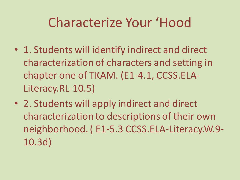 Characterize Your 'Hood
