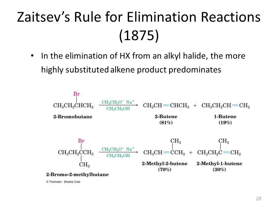 Zaitsev's Rule for Elimination Reactions (1875)