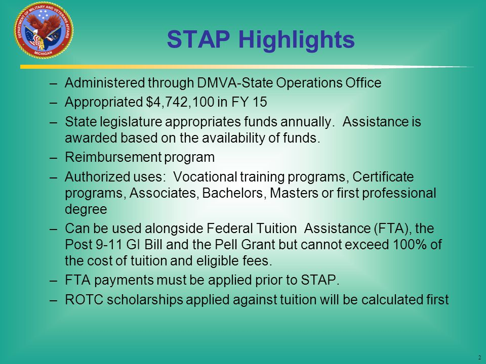 STAP Highlights Administered through DMVA-State Operations Office