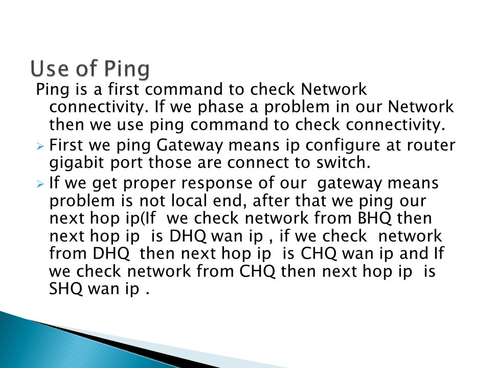 Use of Ping