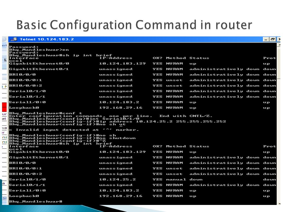 Basic Configuration Command in router