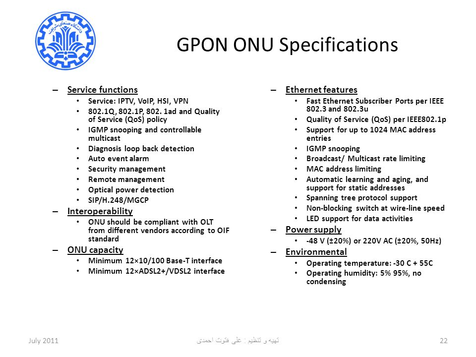 GPON ONU Specifications
