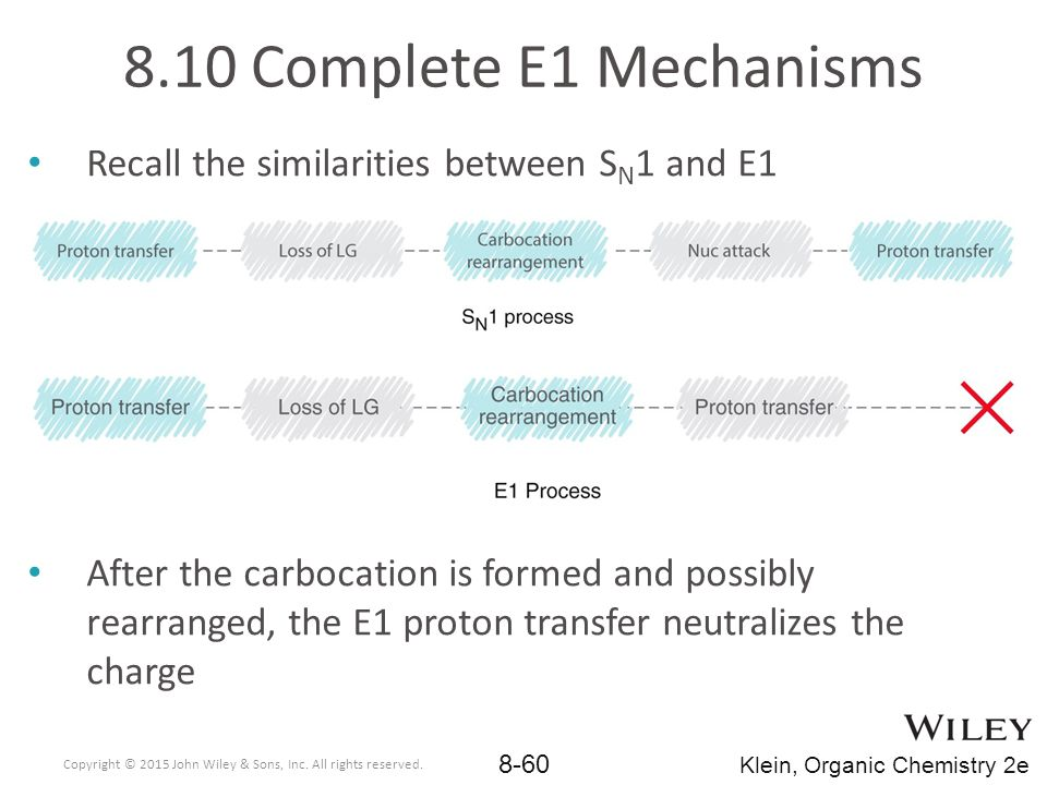 8.10 Complete E1 Mechanisms Recall the similarities between SN1 and E1