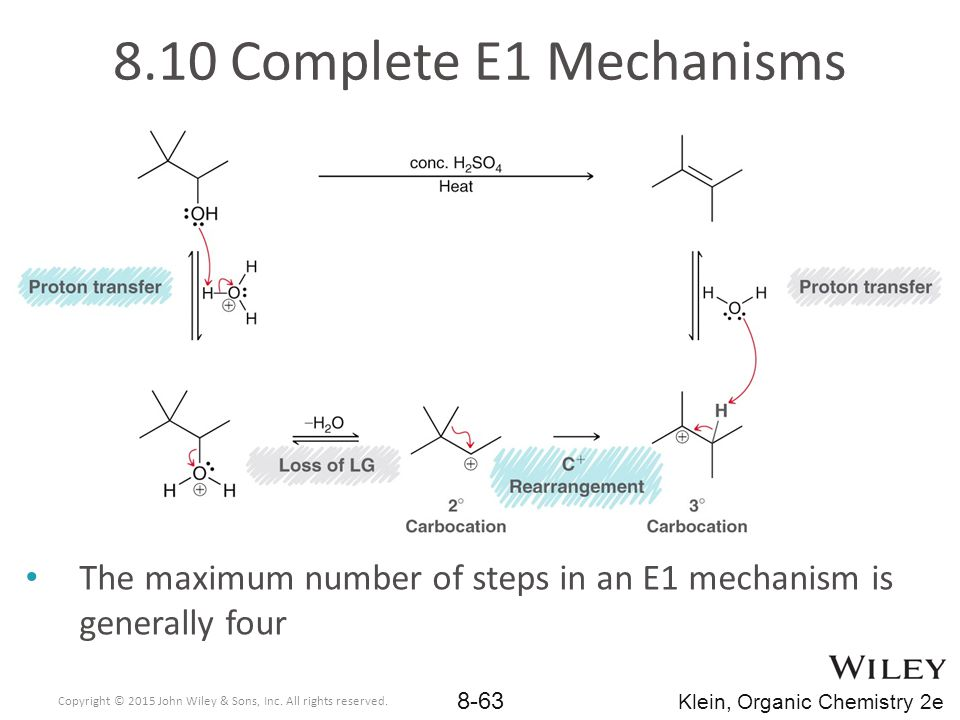 8.10 Complete E1 Mechanisms The maximum number of steps in an E1 mechanism is generally four.