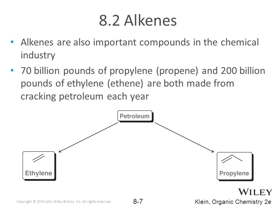 8.2 Alkenes Alkenes are also important compounds in the chemical industry.