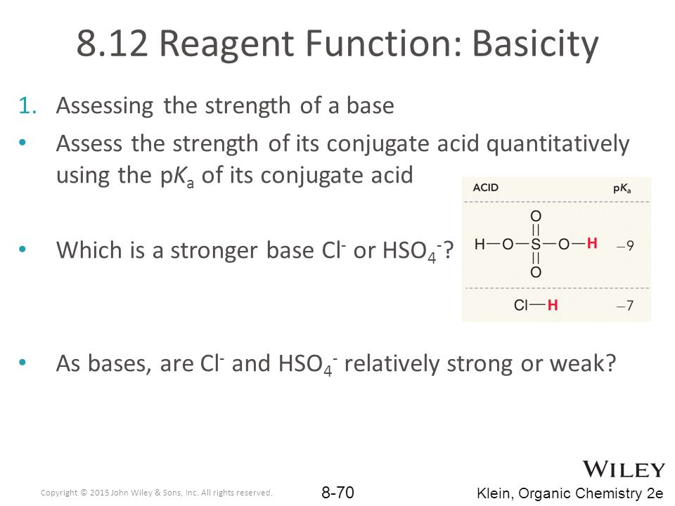8.12 Reagent Function: Basicity