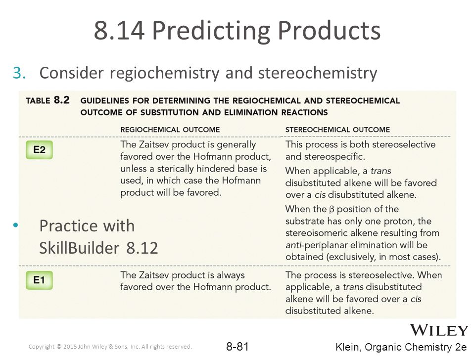 8.14 Predicting Products Consider regiochemistry and stereochemistry