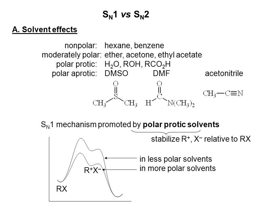 SN1 vs SN2 A. Solvent effects nonpolar: hexane, benzene