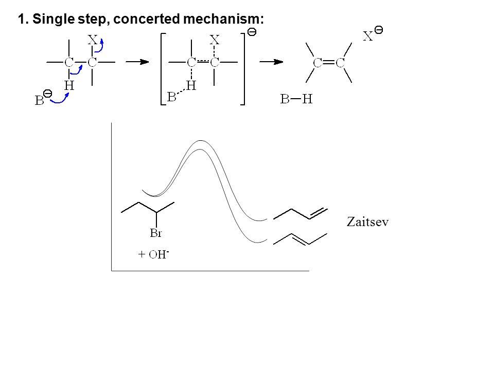 1. Single step, concerted mechanism: