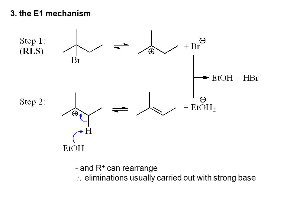 3. the E1 mechanism - and R+ can rearrange  eliminations usually carried out with strong base