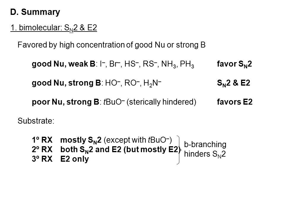 D. Summary 1. bimolecular: SN2 & E2