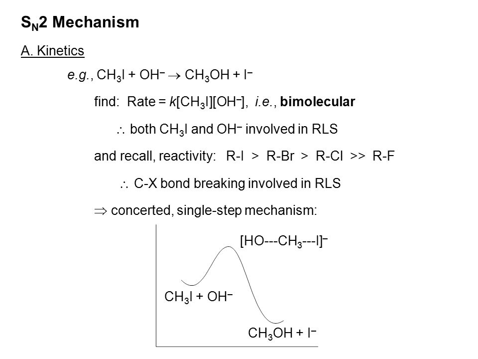 SN2 Mechanism A. Kinetics e.g., CH3I + OH–  CH3OH + I–