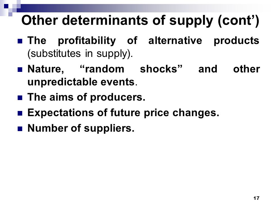 Other determinants of supply (cont')