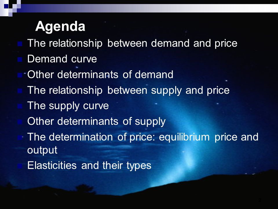 Agenda The relationship between demand and price Demand curve