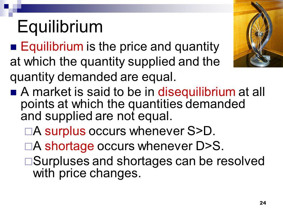 Equilibrium Equilibrium is the price and quantity