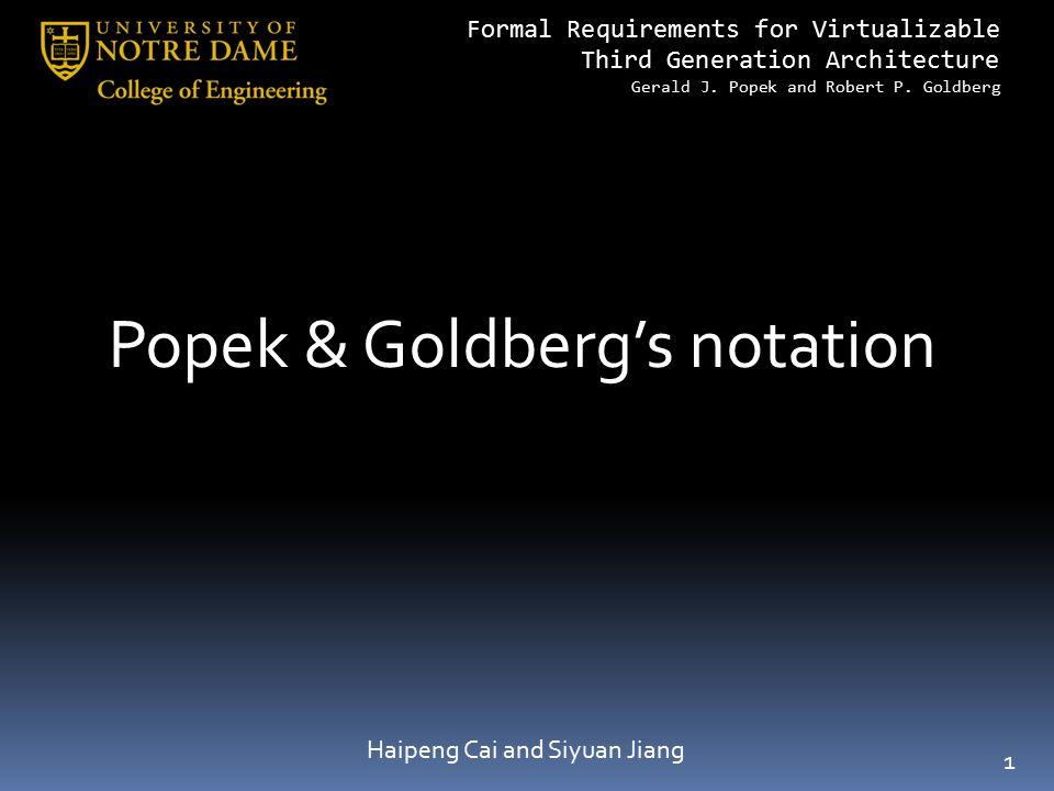 Popek & Goldberg's notation